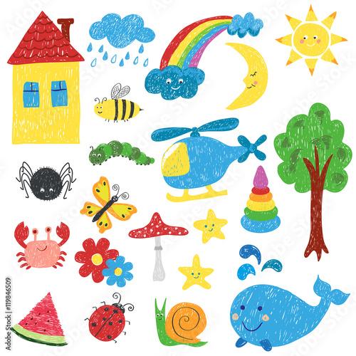 Fototapeta Children drawings set. Colorful vector illustration.