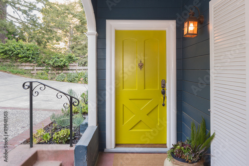 Poster Yellow Green Entry Door / Front Door with single cylinder entran