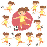 Set of cute Girl Kid Playing Football Soccer Vector illustration
