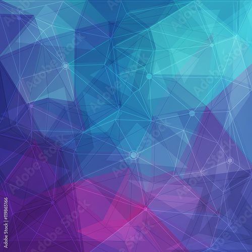 Fototapeta Abstract low poly geometric background with triangles