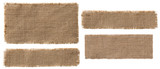 Fototapety Burlap Fabric Label Pieces, Rustic Hessian Patch Torn Sack Cloth