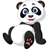 Cartoon panda sitting
