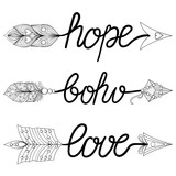 Boho, Love, Hope Arrows. Hand drawn Signs with feathers. Decorat
