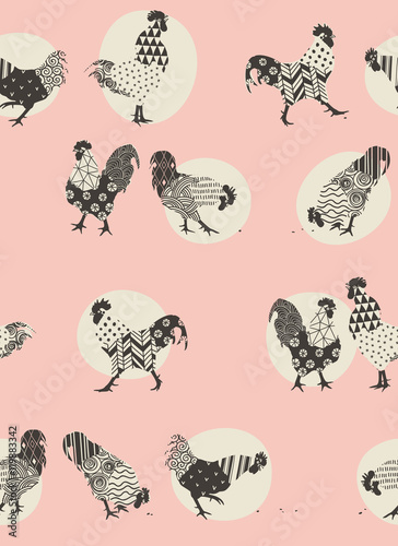 Cotton fabric roosters