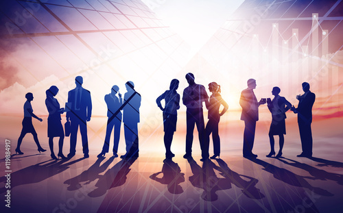 Wall mural Working Business Group. Rasterized business concept vector illustration
