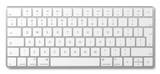 Modern aluminum computer keyboard isolated on white background.