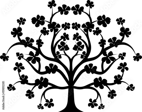 Blossomed tree silhouette