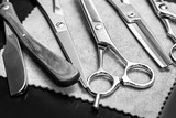 Fototapety Straight razor and different scissors