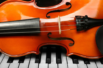 Violin and piano, closeup