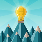 Creative achievement vector concept with mountain peak in flat style