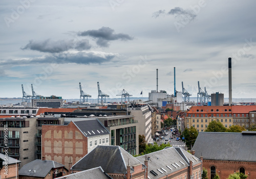 Plagát, Obraz Aarhus skyline with harbor and cranes in Denmark