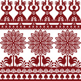 Seamless Polish folk art pattern Wycinanki Kurpiowskie - Kurpie Papercuts - 119905915