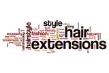 Hair extensions word cloud