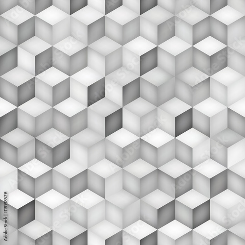 Vector Seamless Greyscale Shades Gradient Rhombus Grid Geometric Pattern © Samolevsky