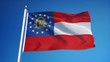 Georgia (U.S. state) flag waving against clean blue sky, close up, isolated with clipping path mask alpha channel transparency with black and white  matte