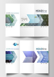 Tri-fold brochure business templates on both sides. Easy editable abstract layout in flat design. DNA molecule structure, science background. Scientific research, medical technology.