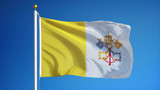 Papal States flag waving against clean blue sky, close up, isolated with clipping path mask alpha channel transparency - 119926119