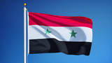 Syria flag waving against clean blue sky, close up, isolated with clipping path mask alpha channel transparency