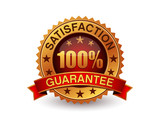 100% Percent satisfaction guarantee gold badge with red ribbon.
