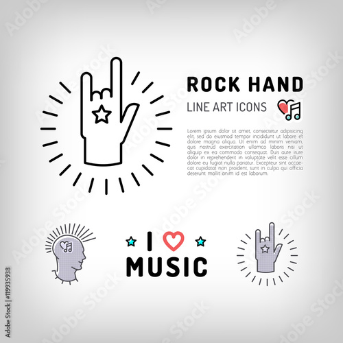 Rock Hand Sign Punk Rock Music Icons The Concept Symbols Of Love