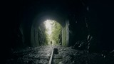 Woman getting into  the darkness over the rails of an abandoned train in inside of the ecuadorian jungle