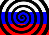 Hypnotic spiral and flag of russia as metaphor of russian propaganda - manipulation, disinformation and brainwashing,