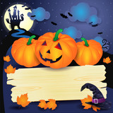 Halloween background with pumpkins and wooden sign