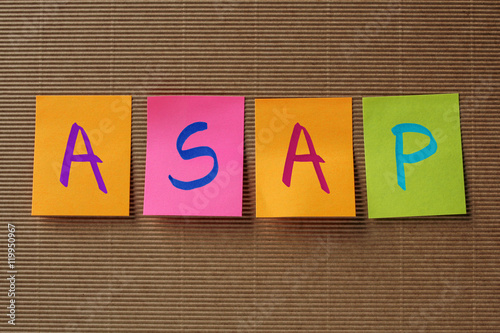 Poster ASAP (As Soon As Possible) acronym on colorful sticky notes
