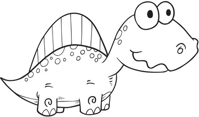 Cute Doodle Dinosaur Vector Illustration Art
