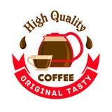 High quality original tasty coffee. Cafe emblem