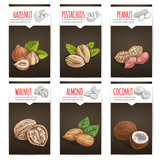 Nuts, grain and kernels poster with titles