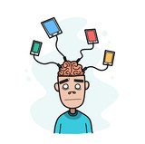 Enslaved by Technology. A hand drawn vector cartoon illustration of a guy who