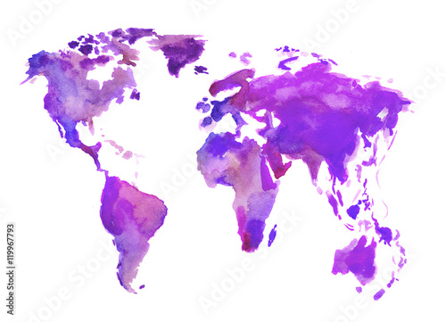 Zdjęcia Watercolor world map