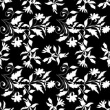 Black and white seamless  pattern with hand drawn silhouettes doodle flower and leaf. Textile, backdrop, cover, wrapper.