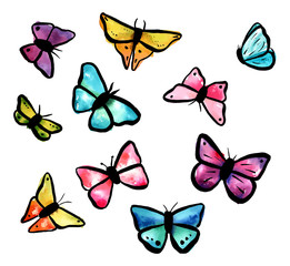 Collection of freehand vector watercolour butterflies