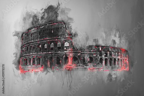 Fototapeta Fine art painting of the Colosseum, Rome