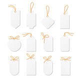 Tags and labels with bakers twine bows ribbons - 119979504