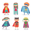 Superhero kids boys and girls. Cartoon vector illustration