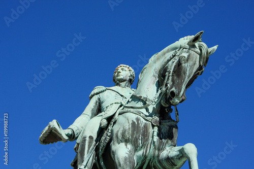 Poster Statue of Norwegian King Carl Johan XIV on horse in Oslo.