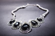 A nice ethnic tracery metallic necklace on black