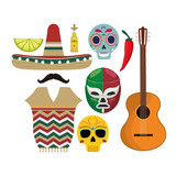 Hat mustache tequila skull fighter and guitar. Mexico landmark and mexican culture theme. Colorful design. Vector illustration