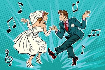 dancing bride and groom