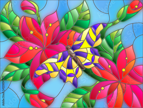 Naklejka Illustration in stained glass style with bright butterfly against the sky, foliage and flowers