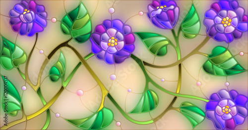 Illustration in stained glass style with abstract blue flowers on a beige background
