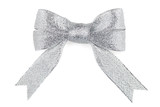 Fototapety Beautiful silver bow on white background