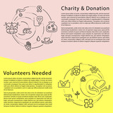 Charity and donation, volunteers needed concepts set