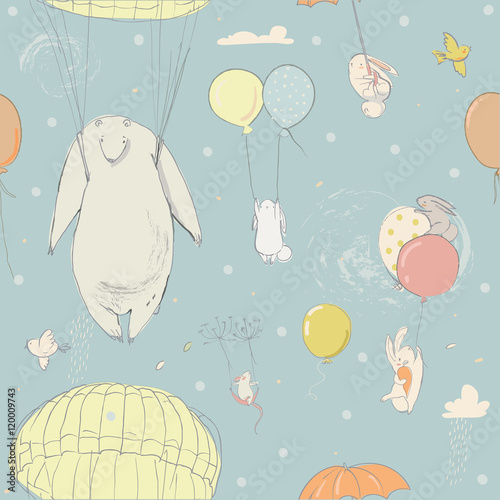 seamless pattern with cute little hares and polar bear - 120009743