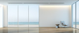 Modern beach house interior, Relaxing sea view living room - 3d rendering