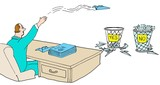 Business illustration showing a businessman who cannot make decisions tossing documents into a yes and a no basket.