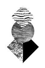 Abstrakte Geometrie formt mit Aquarell und Grunge Texturen